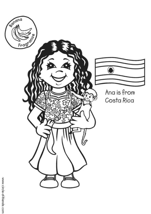 Coloring page Ana from Costa Rica