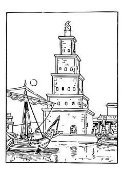 Coloring page ancient fire tower