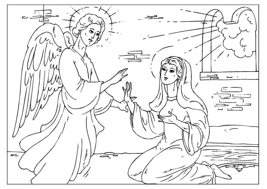 Coloring page angel Gabriel img 25927