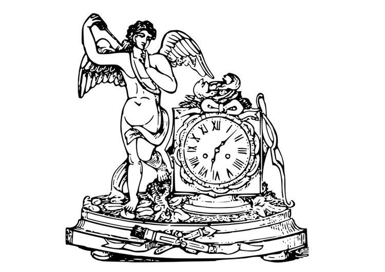 Coloring page angel with clock