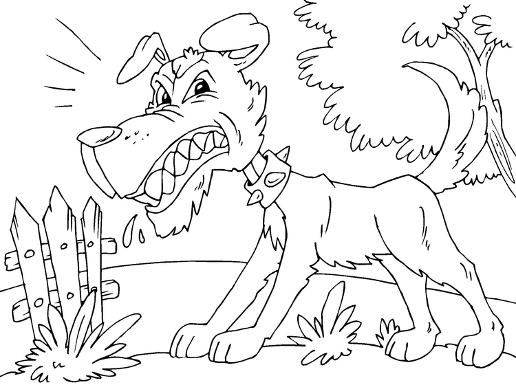 Coloring page angry dog