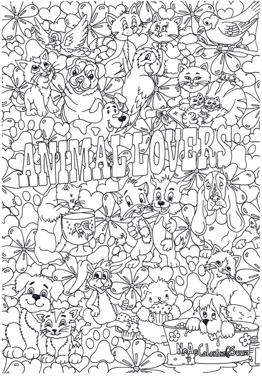Coloring page animal lovers