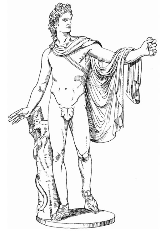 Coloring page Apollo, Greek God