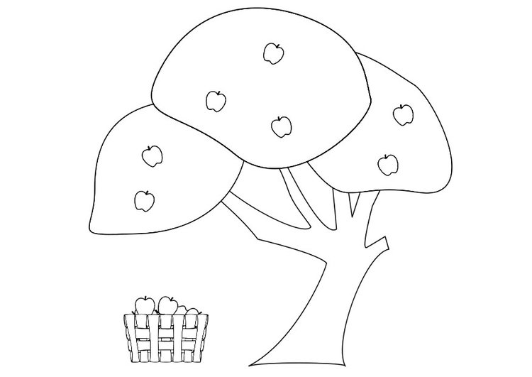 Coloring page apple tree with apple basket