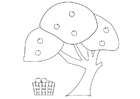 Coloring pages apple tree with apple basket