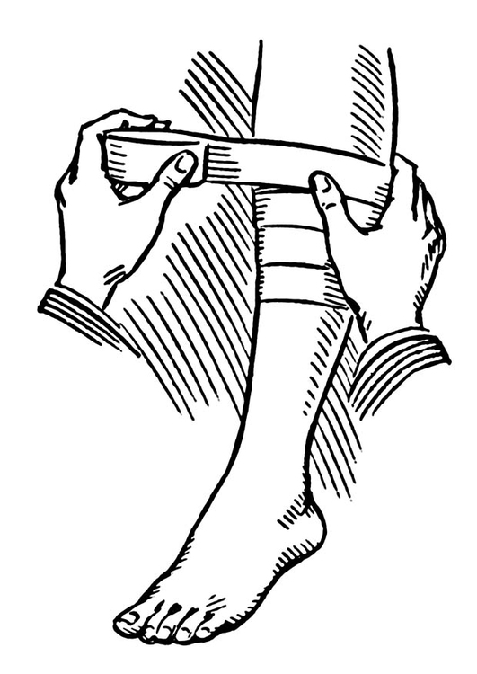 Coloring page apply a bandage