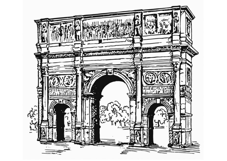 Coloring page Arc of Constantine, Rome