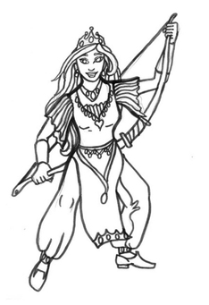 Coloring page archer queen