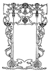 Coloring pages art nouveau frame