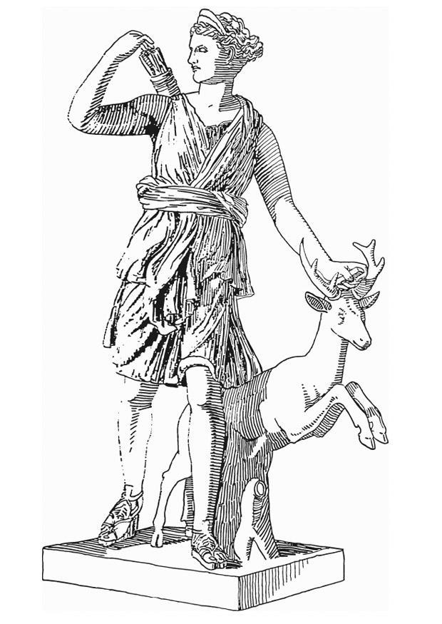 Coloring Page Artemis Godess Of Greek Mythology