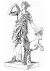 Coloring page Artemis, godess of greek mythology