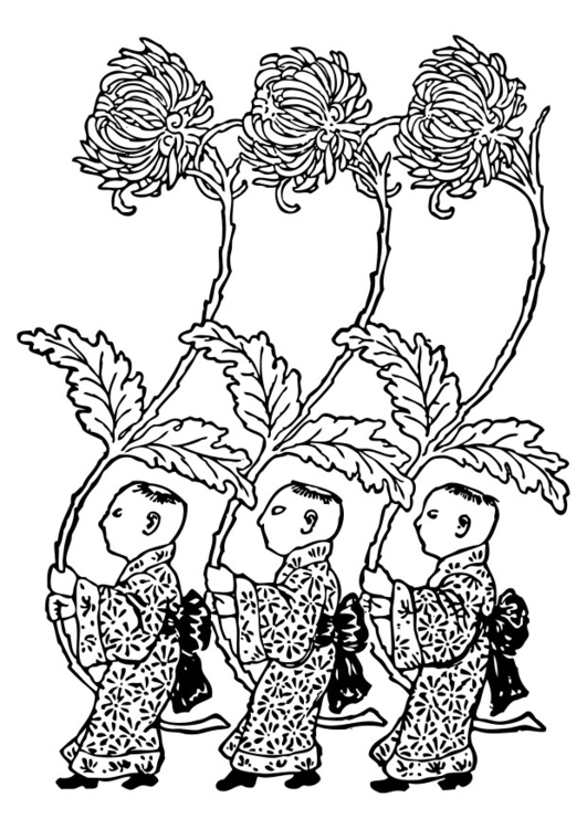 Coloring page Asia - yellow chrysanthemum carriers
