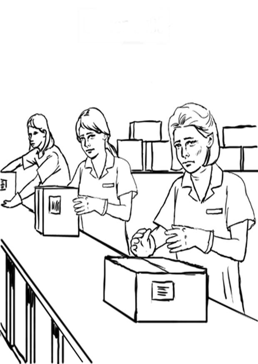 Coloring page assembly line