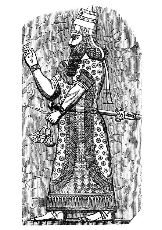 Coloring page assyrian king