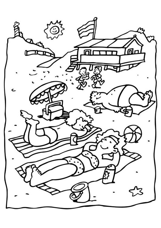 Coloring page at the beach
