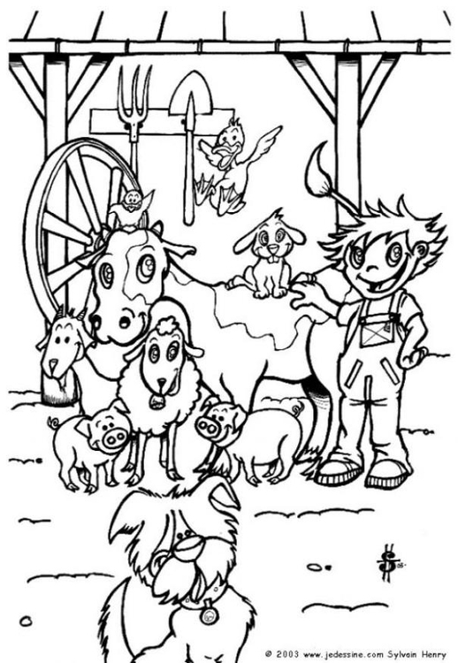 Coloring page at the farm