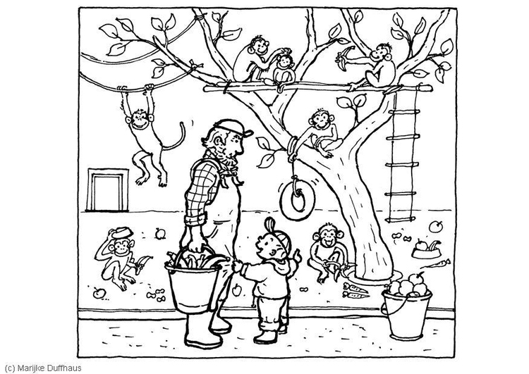 Coloring page at the zoo