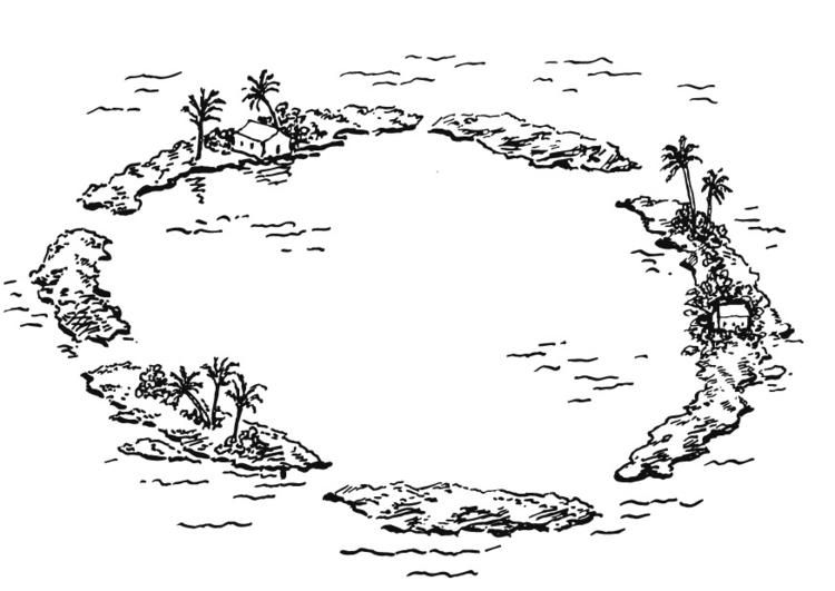 Coloring page Atoll, island group