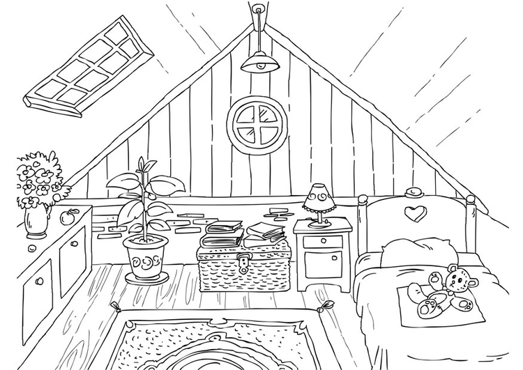 Coloring page attic