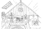 Coloring pages The different rooms of a house