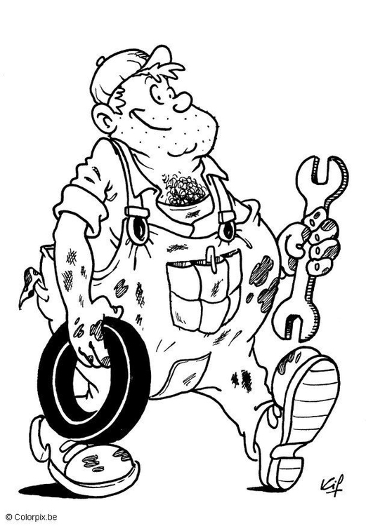 Coloring page auto mechanic