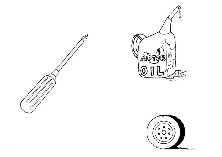 Coloring page auto mechanic's tools