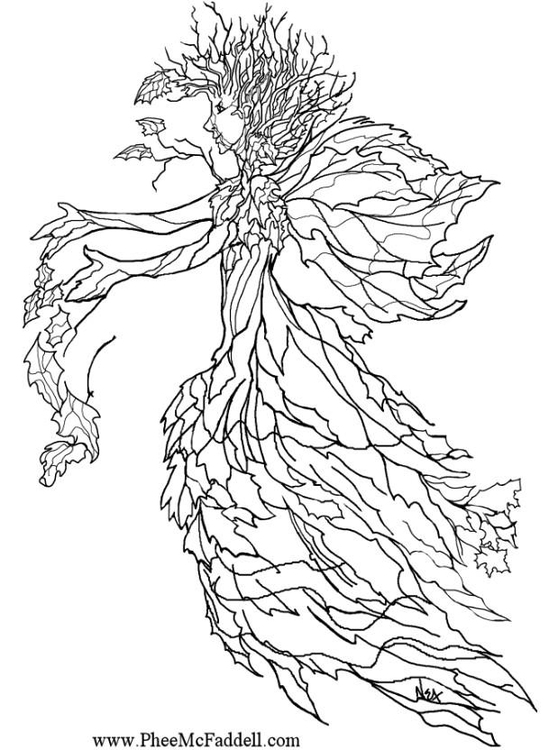 Coloring page autumn fairy - img 6901.