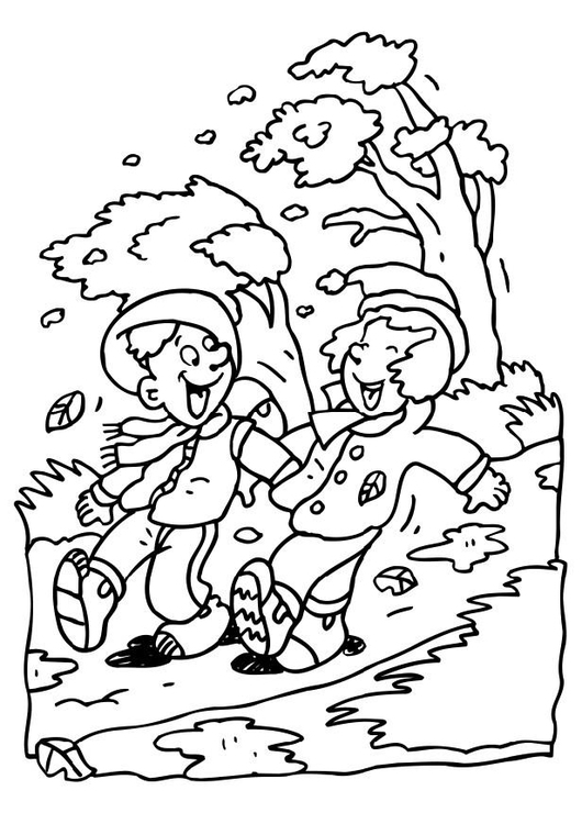 Coloring page autumn weather