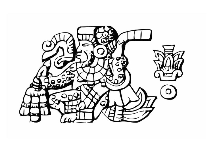Coloring page aztec burial