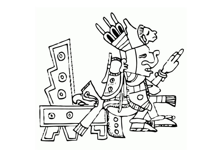 Coloring page aztec
