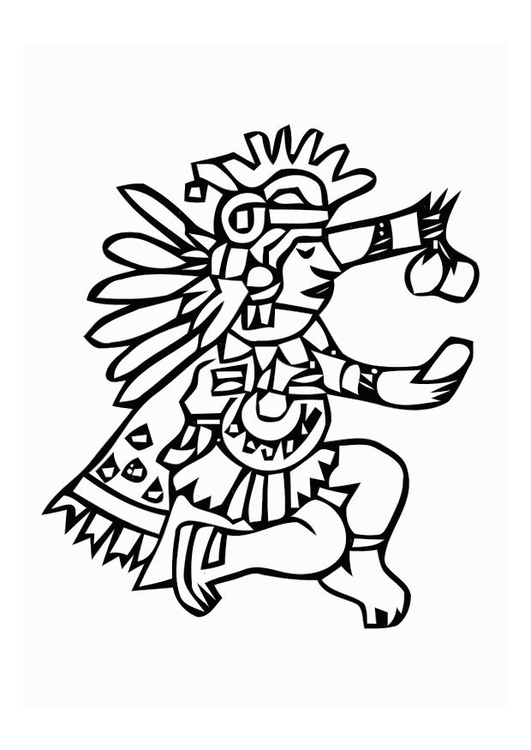 Coloring page aztec god