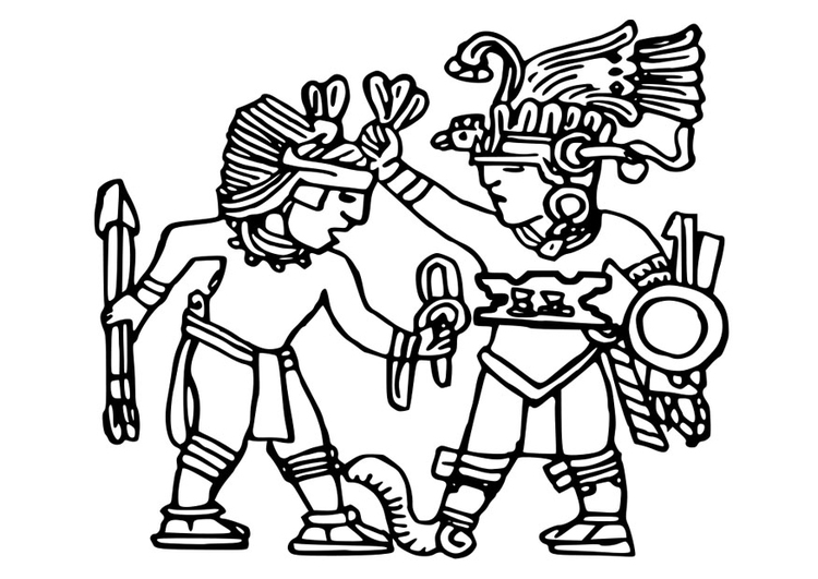 Coloring page Aztec murals