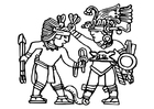 Coloring pages Aztec murals