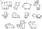 Coloring page baby animals