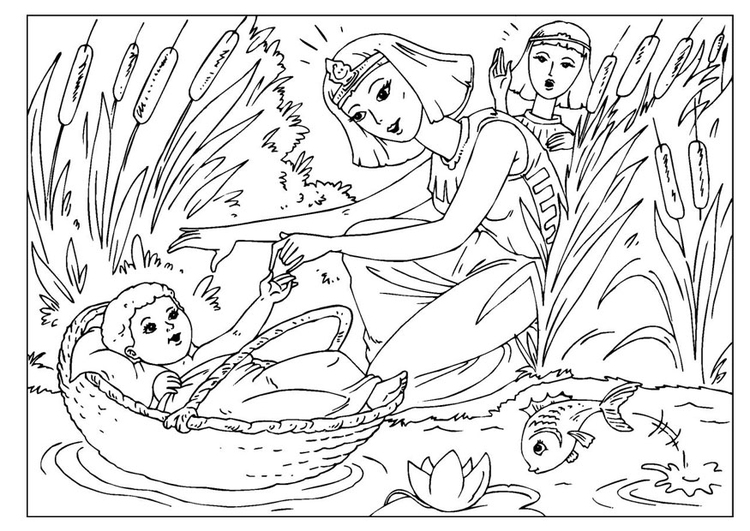 Coloring page baby Moses