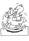 Coloring page baby on hobbie horse
