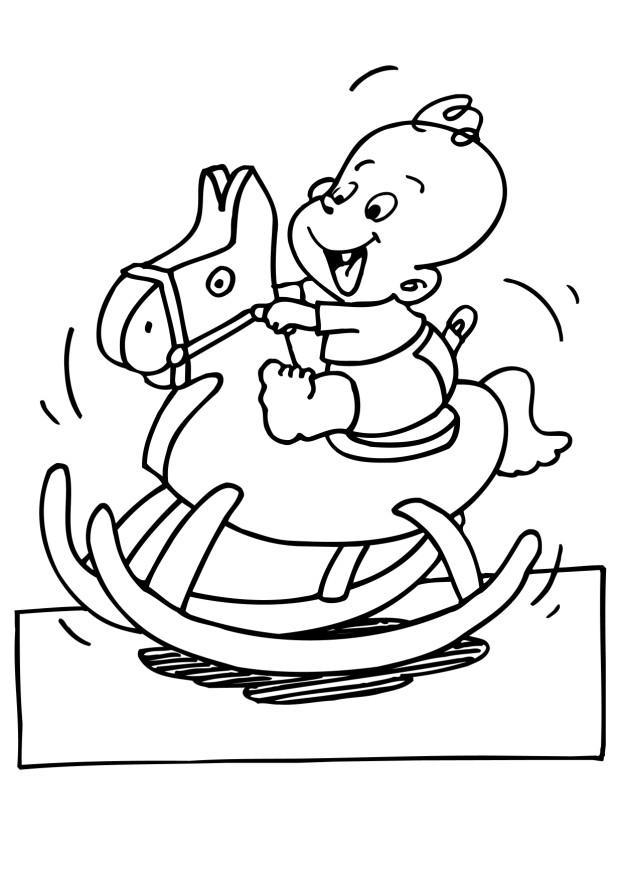 coloring page baby on hobby horse