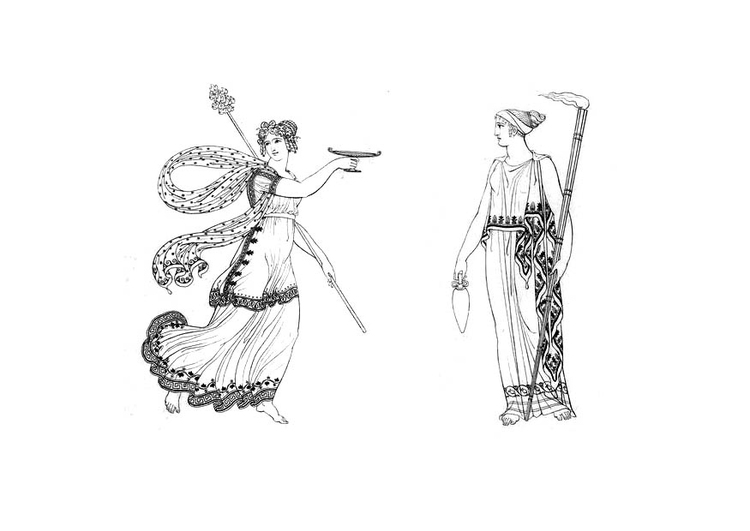 Coloring page Bacchante and goddess from Ceres