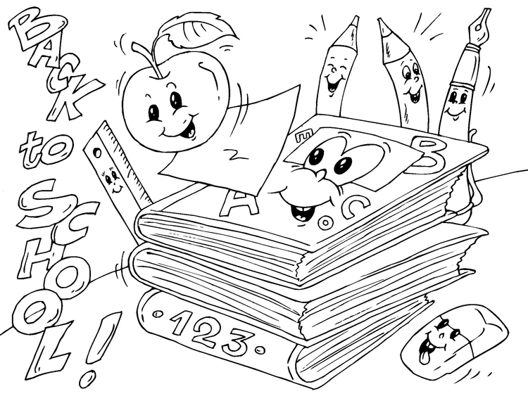 Coloring page back to school