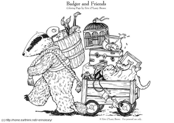 Coloring page Badger and Friends