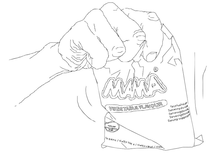 Coloring page bag of crisps