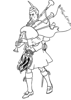 Coloring page Bagpipe player in Scottish costume