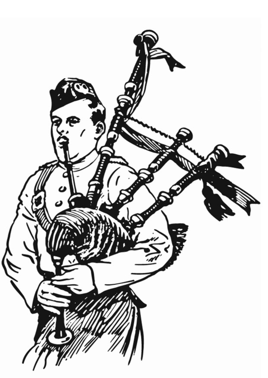 Coloring page bagpiper