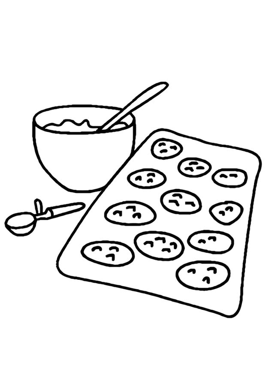 Coloring page baking cookies