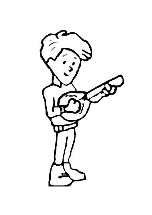 Coloring page banjo player