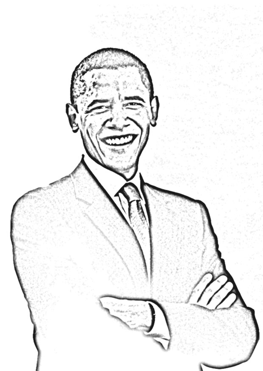 Coloring page President Obama