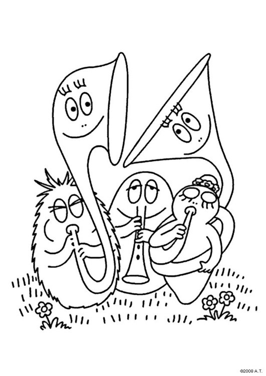 Coloring page Barbapap orchestra