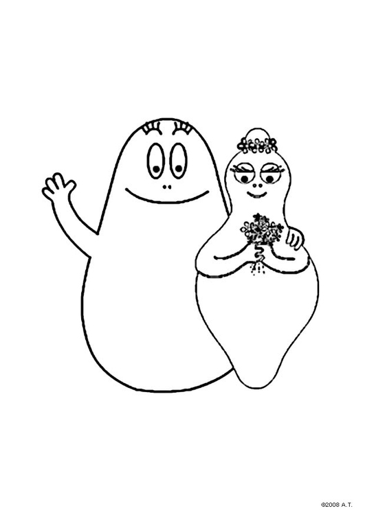 Coloring page Barbapapa and Barbamama