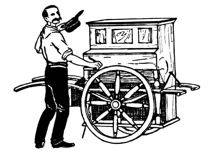 Coloring page barrel organ
