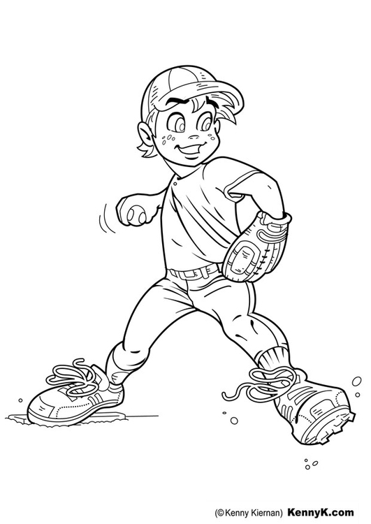 Coloring page baseball - pitcher